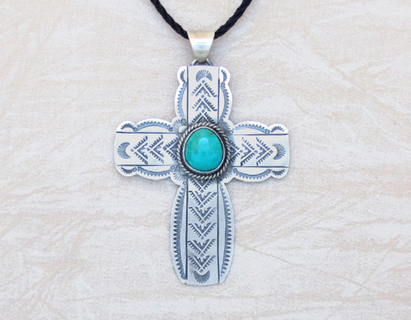 Turquoise & Sterling Silver Cross Pendant Navajo Jewelry - 4508sn