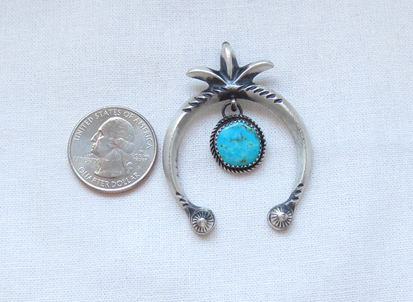 Image 1 of   Turquoise & Sterling Silver Naja Pendant Navajo Jewelry - 5076rb