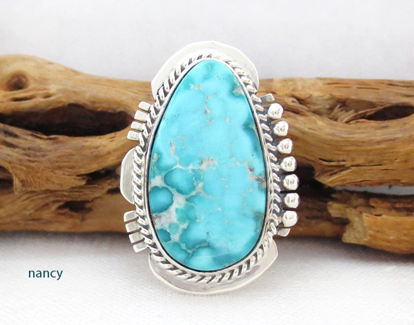 Image 0 of Sea Blue Turquoise & Sterling Silver Ring Size 7 Navajo Jewelry - 4516sn