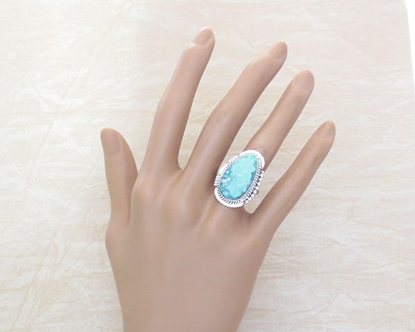 Image 1 of Sea Blue Turquoise & Sterling Silver Ring Size 7 Navajo Jewelry - 4516sn