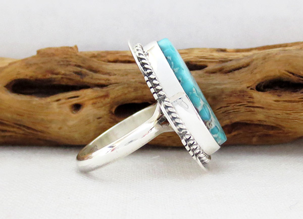 Image 2 of Sea Blue Turquoise & Sterling Silver Ring Size 7 Navajo Jewelry - 4516sn