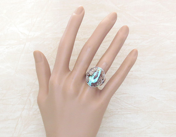 Image 1 of    Boulder Turquoise & Sterling Silver Ring Sz 7 Navajo Jewelry - 4518sn