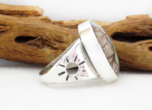 Image 2 of    Boulder Turquoise & Sterling Silver Ring Sz 7 Navajo Jewelry - 4518sn