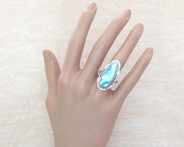 Image 1 of  White Water Turquoise & Sterling Silver Ring Size 7 Navajo Jewelry - 4520sn
