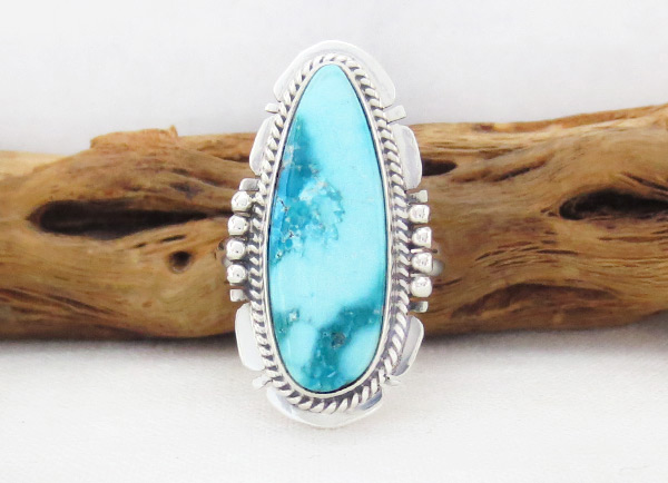 White Water Turquoise & Sterling Silver Ring Size 7 Navajo Jewelry - 4520sn