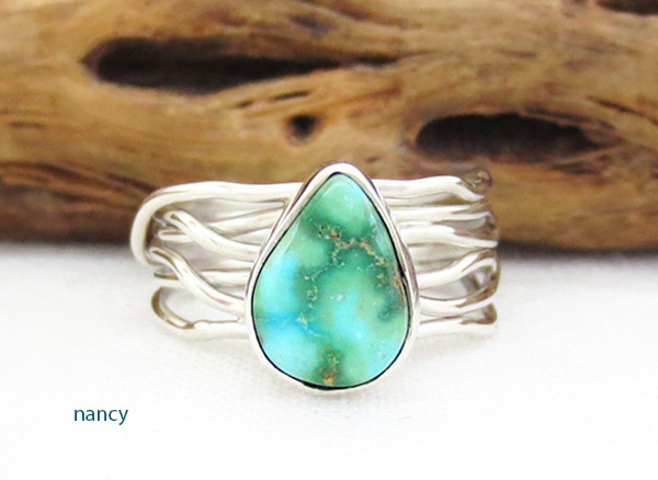 Small Turquoise & Sterling Silver Ring Sz 7.5 Native American Jewelry - 4519sn