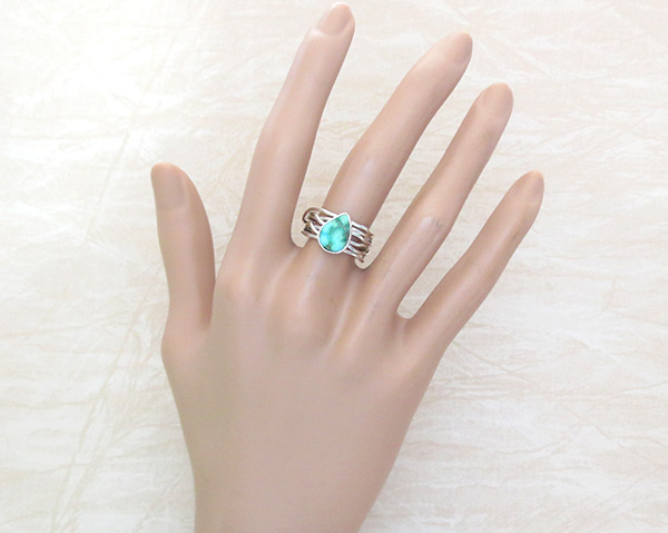 Image 1 of     Turquoise & Sterling Silver Ring Sz 7.5 Native American Jewelry - 4519sn