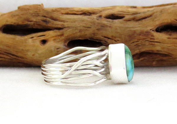 Image 2 of     Turquoise & Sterling Silver Ring Sz 7.5 Native American Jewelry - 4519sn