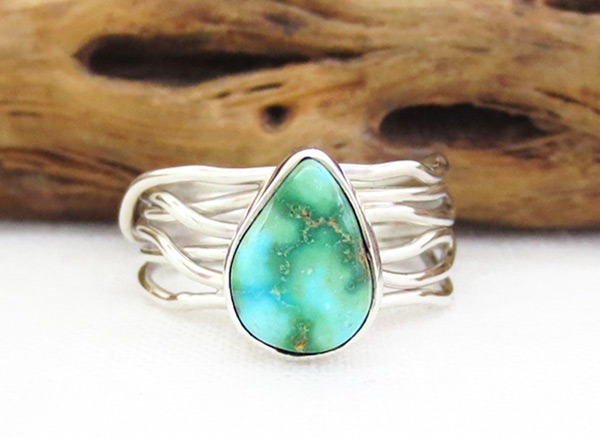 Turquoise & Sterling Silver Ring Sz 7.5 Native American Jewelry - 4519sn