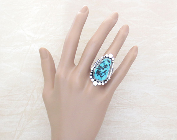 Image 1 of Big Turquoise Nugget & Sterling Silver Ring Sz 7.5 Navajo Jewelry - 4517rb