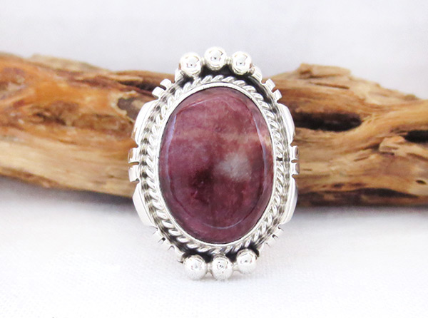 Purple Spiny Oyster & Sterling Silver Ring Sz 8 Native American Jewelry - 4529rb
