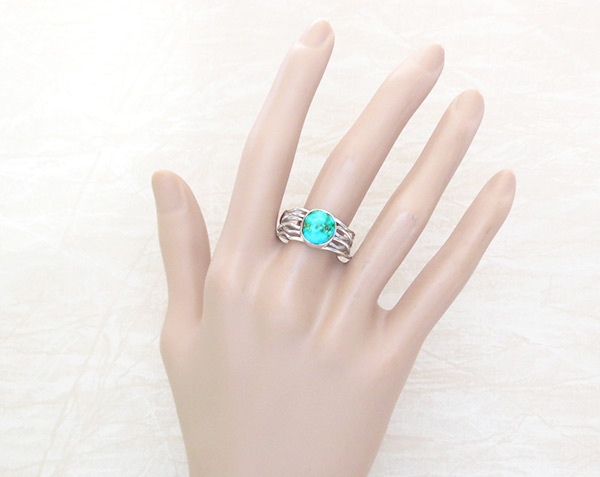 Image 1 of     Small Turquoise & Sterling Silver Ring Sz 10.25 Navajo Jewelry - 4526sn