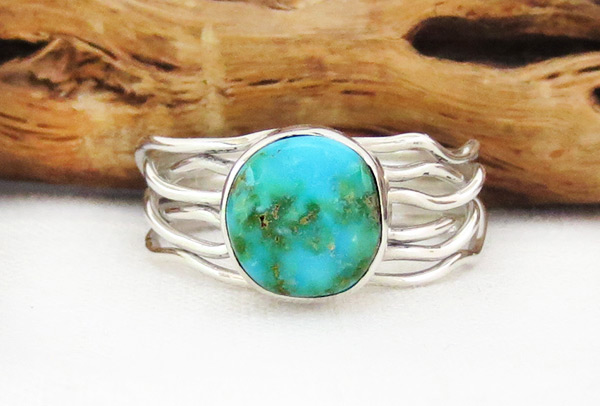 Small Turquoise & Sterling Silver Ring Sz 10.25 Navajo Jewelry - 4526sn