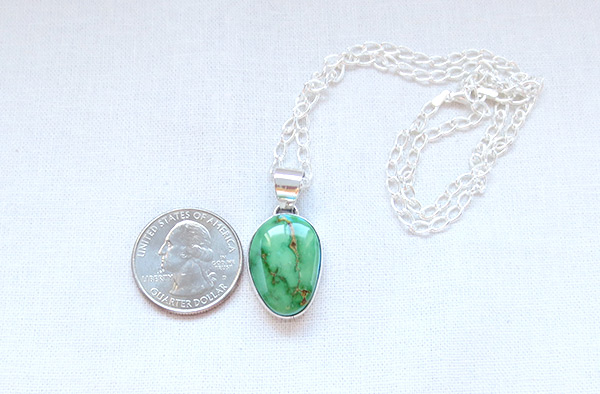 Image 1 of     Green Turquoise & Sterling Silver Pendant W/Chain Navajo Jewelry - 4507sn
