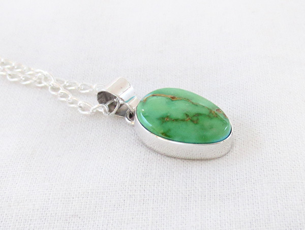 Image 2 of     Green Turquoise & Sterling Silver Pendant W/Chain Navajo Jewelry - 4507sn