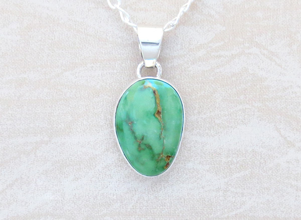 Image 0 of     Green Turquoise & Sterling Silver Pendant W/Chain Navajo Jewelry - 4507sn