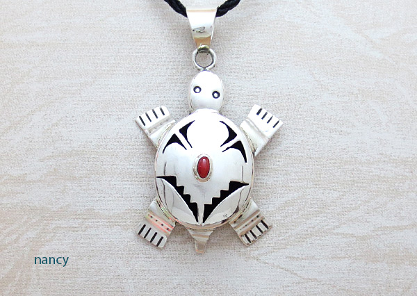 Coral & Sterling Silver Turtle Pendant Bennie Ration Navajo - 4523sn