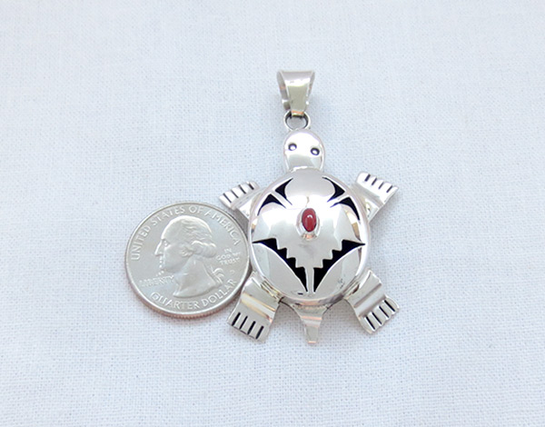 Image 1 of      Coral & Sterling Silver Turtle Pendant Bennie Ration Navajo - 4523sn
