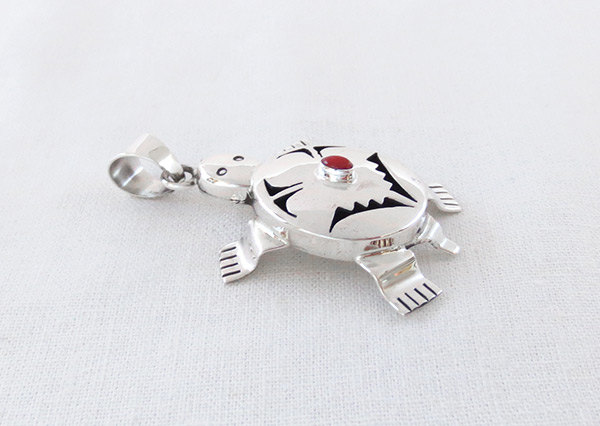 Image 2 of      Coral & Sterling Silver Turtle Pendant Bennie Ration Navajo - 4523sn