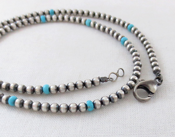 Image 1 of     Sterling Silver Desert Pearl Necklace w/Turquoise 20
