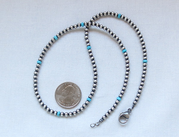 Image 2 of     Sterling Silver Desert Pearl Necklace w/Turquoise 20
