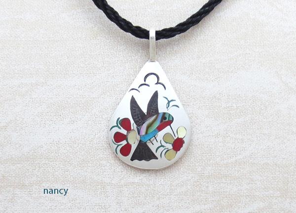Image 0 of   Hummingbird Inlay Pendant Zuni Native American Jewelry - 5134rb