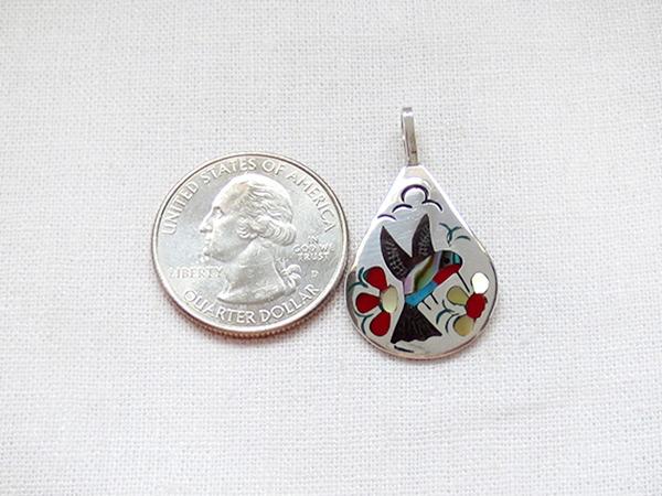 Image 1 of   Hummingbird Inlay Pendant Zuni Native American Jewelry - 5134rb