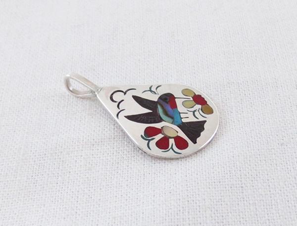 Image 2 of   Hummingbird Inlay Pendant Zuni Native American Jewelry - 5134rb