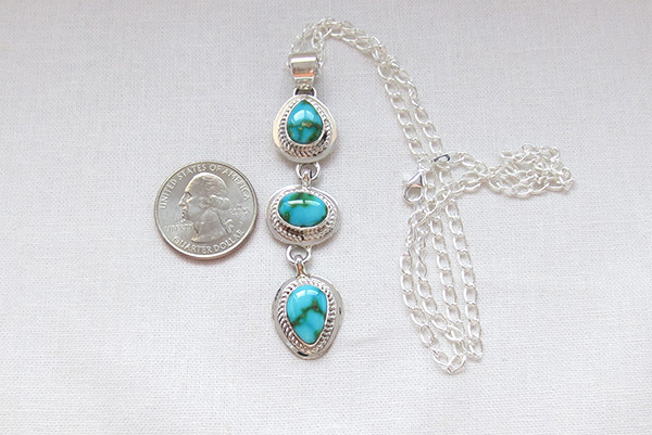 Image 1 of     Turquoise & Sterling Silver Pendant W/Chain Navajo Jewelry - 5132sn