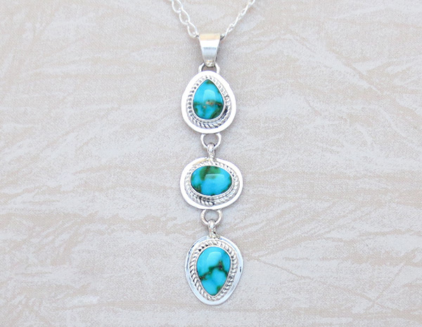 Turquoise & Sterling Silver Pendant W/Chain Navajo Jewelry - 5132sn