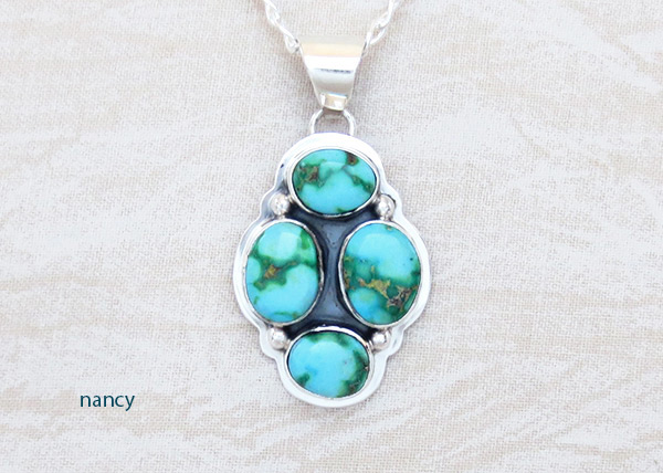 Image 0 of Turquoise & Sterling Silver Pendant W/Chain Navajo Jewelry - 5129sn