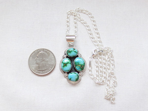 Image 1 of Turquoise & Sterling Silver Pendant W/Chain Navajo Jewelry - 5129sn