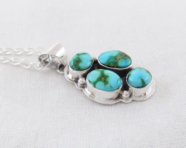 Image 2 of Turquoise & Sterling Silver Pendant W/Chain Navajo Jewelry - 5129sn