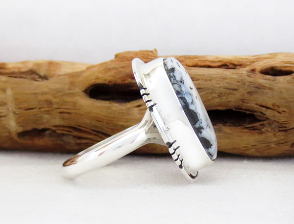 Image 2 of White Buffalo Stone & Sterling Silver Ring Sz 7 Navajo - 5091sn