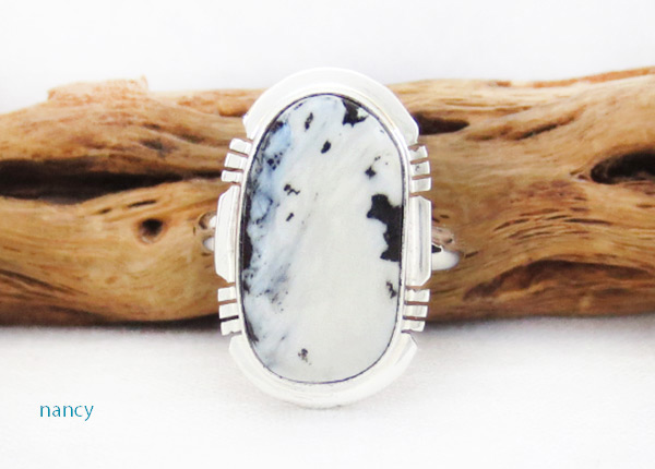 Image 0 of White Buffalo Stone & Sterling Silver Ring Sz 7 Navajo - 5091sn
