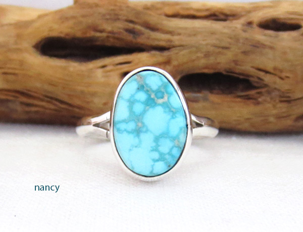 Image 0 of     Small White Water Turquoise & Sterling Silver Ring Size 7 Navajo - 5089sn