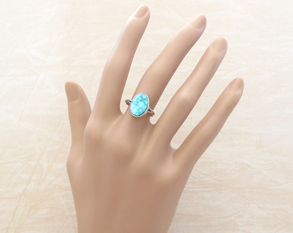 Image 1 of     Small White Water Turquoise & Sterling Silver Ring Size 7 Navajo - 5089sn