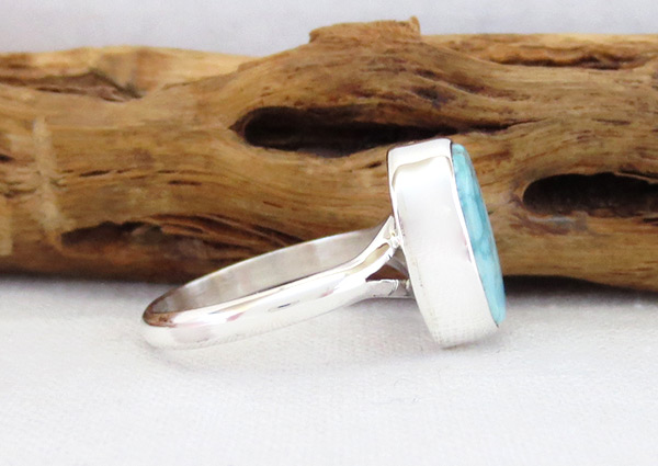 Image 2 of     Small White Water Turquoise & Sterling Silver Ring Size 7 Navajo - 5089sn