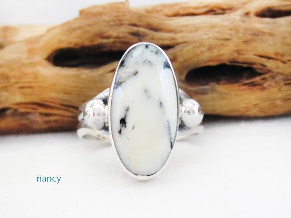 White Buffalo Stone & Sterling Silver Ring Sz 6 Navajo - 5087sn