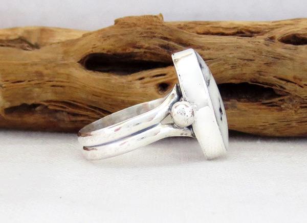 Image 2 of         White Buffalo Stone & Sterling Silver Ring Sz 6 Navajo - 5087sn
