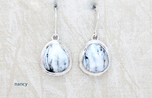 Image 0 of Navajo Jewelry White Buffalo Stone & Sterling Silver Earrings - 5092sn