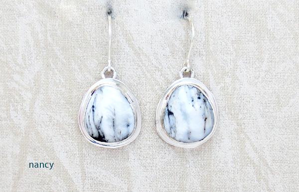 Navajo Jewelry White Buffalo Stone & Sterling Silver Earrings - 5092sn