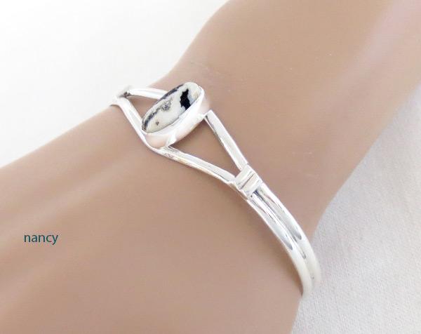 Image 1 of     White Buffalo Stone & Sterling Silver Bracelet Navajo Jewelry - 5093sn