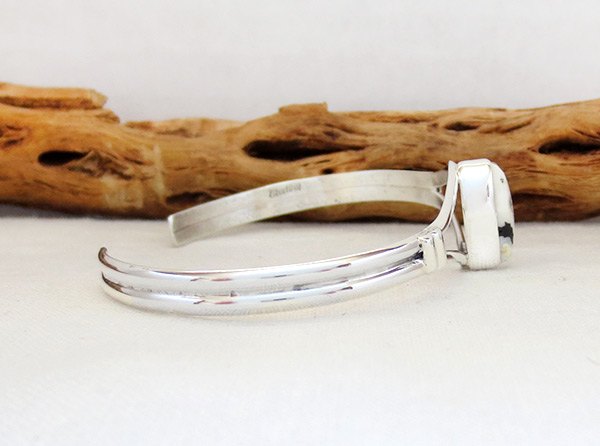 Image 2 of     White Buffalo Stone & Sterling Silver Bracelet Navajo Jewelry - 5093sn