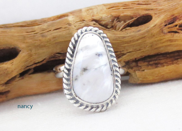 White Buffalo Stone & Sterling Silver Ring Sz 5 Navajo Jewelry - 5238sn