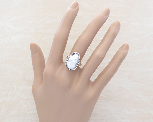 Image 1 of    White Buffalo Stone & Sterling Silver Ring Sz 5 Navajo Jewelry - 5238sn