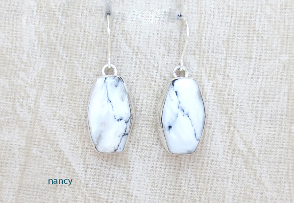 Image 0 of     Navajo Jewelry White Buffalo Stone & Sterling Silver Earrings - 5237sn