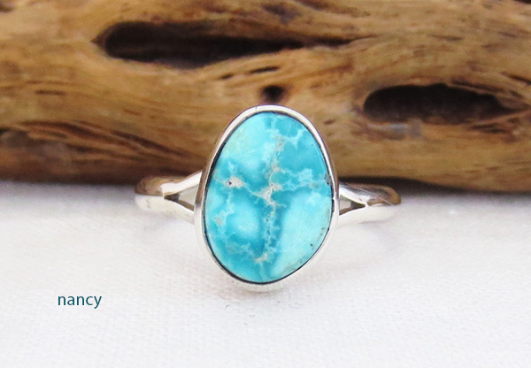 Small White Water Turquoise & Sterling Silver Ring Sz 7 Navajo - 5395sn