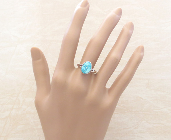 Image 1 of    Small White Water Turquoise & Sterling Silver Ring Sz 7 Navajo - 5395sn