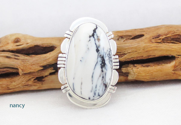 White Buffalo Stone & Sterling Silver Ring Size 8.5 - 5137sn